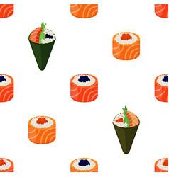 sushi types - rolls temaki seamless pattern vector image vector image