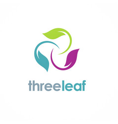 three color leaf logo vector image vector image
