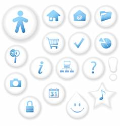 white on white button icons vector image vector image