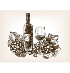 Wine still life sketch style vector image vector image