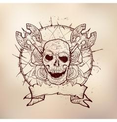 xmass tattoo skull vector image vector image