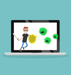 Young character fighting against virus flat vector