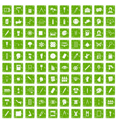 100 paint icons set grunge green vector image