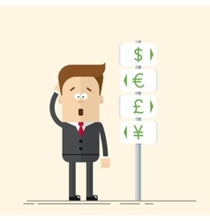 Businessman or manager has the choice of currency vector