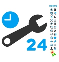 Service hours flat icon with bonus vector