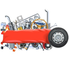 Banner with truck spares vector