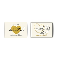 Wedding invitations with gold glitter hearts you vector