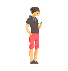 Guy with smartphone in short-sleeve hoodie young vector