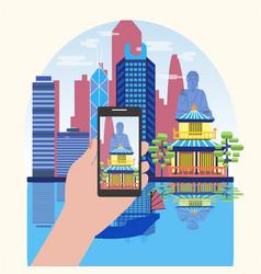 Smart phone taking photo of attractive hong kong vector
