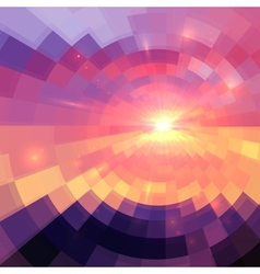 Magic sunset in abstract stained glass vector