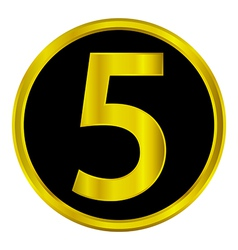 Number five button vector image