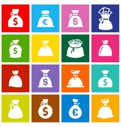 Money bags set icons on colored squares vector
