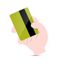 Hand holding green credit card vector