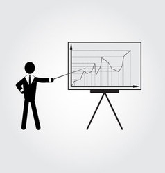 Man in suit and infoboard with graph vector