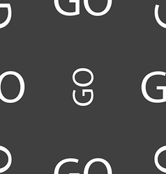 Go sign icon seamless pattern on a gray background vector