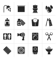 Black bathroom and personal care icons vector