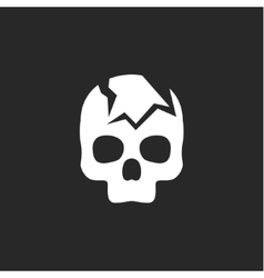 Cracked skull on a dark background icon vector