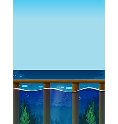 Scene with ocean and underwater vector