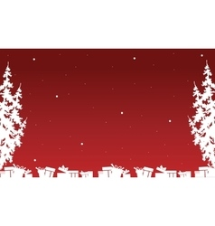 Silhouette of christmas gift and spruce vector