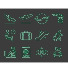 Airport navigation icons set vector