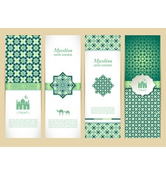 Banners set of islamic green color design vector image vector image
