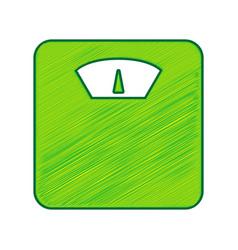 bathroom scale sign lemon scribble icon vector image