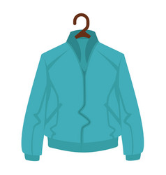 blue jacket for man or woman on black hanger on vector image vector image