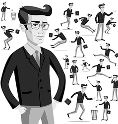business flat web infographic grey men people vector image vector image