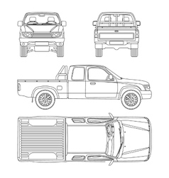 Car pickup truck extra cab vector