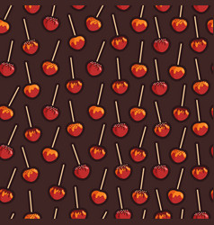 Caramelized apples with different toppings vector