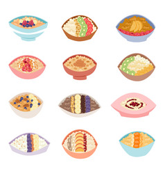 Cartoon healthy oatmeal porridge in bowls with vector
