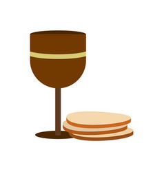 Chalice of wine and wafers icon vector