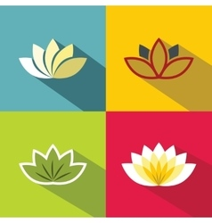 Color flat flowers with dark long shadow on vector image