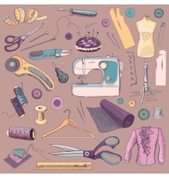 Colored hand drawn sewing icons set vector image vector image
