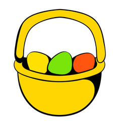 Colorful easter eggs in the basket icon vector