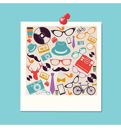 Colorful retro hipsters icons photo vector image