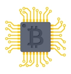 Computer chip for bitcoin mining vector