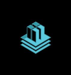 Data technology cube 3d logo vector