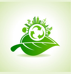 Eco energy concept with leafcityscape and and vector