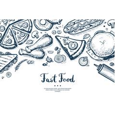 Fast food menu cover in vintage style vector