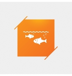 Fish in water sign icon fishing symbol vector