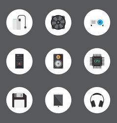 Flat icons microprocessor palmtop system unit vector