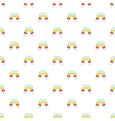 Glasses of champagne with bows pattern vector