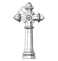 Granite cross owners vintage engraving vector