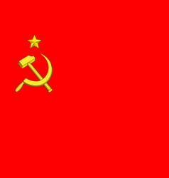 hammer and sickle on red flag vector image
