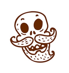 Hand Drawn Skull with a Moustache and Beard vector image vector image