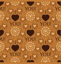 i love you text heart sharp seamless vector image