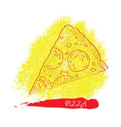 isolated pizza outline vector image