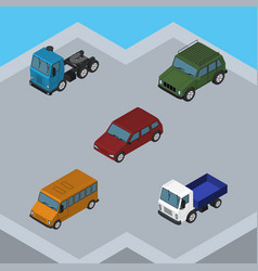 Isometric automobile set of lorry truck autobus vector