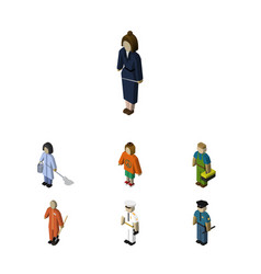 isometric human set of officer housemaid plumber vector image vector image